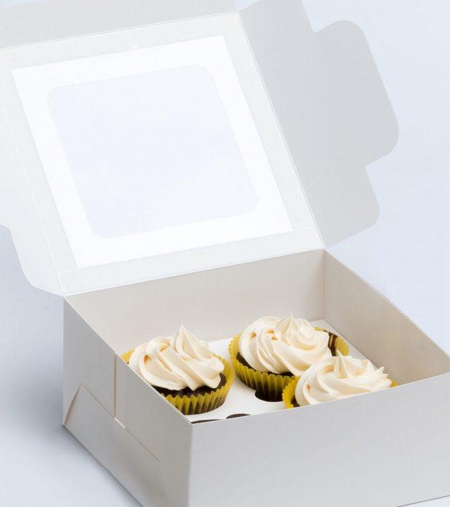 אריזה עם חלון מתאימה לעוגות, קאפקייקס ועוד. על בסיס דופלקס או קראפט.